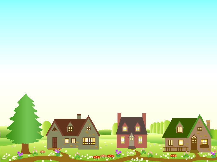 フリーイラスト 洋風の一軒家のある田舎の風景