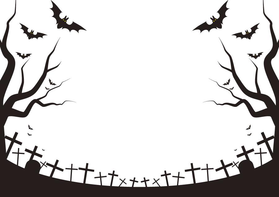 フリーイラスト 墓地とコウモリのハロウィンフレーム