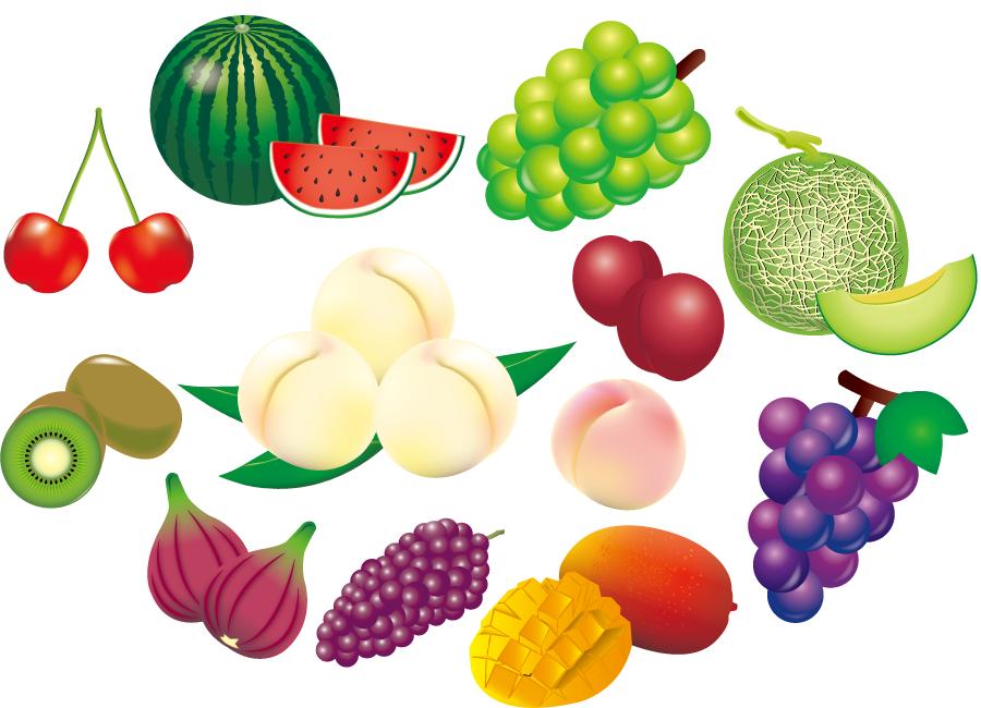 フリーイラスト 葡萄や桃などの12種類の果物のセット