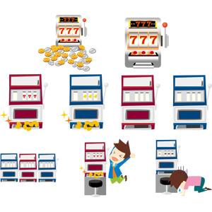 フリーイラスト, ベクター画像, EPS, カジノ, 賭博(ギャンブル), スロットマシン, 喜ぶ(嬉しい), 落ち込む(落胆), 失望(絶望)