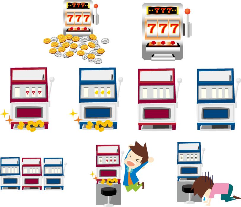 フリーイラスト 9種類のスロットマシンのセット