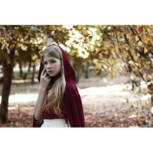 フリー写真, 人物, 少女, 外国の少女, 赤ずきん, 金髪(ブロンド)