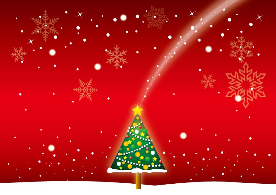 フリーイラスト 雪とクリスマスツリーのクリスマス背景