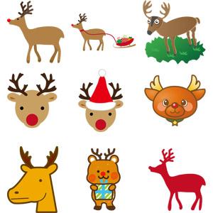 フリーイラスト, ベクター画像, EPS, 動物, 哺乳類, トナカイ, クリスマス, 12月, 動物の顔, シルエット(動物), ソリ, クリスマスプレゼント