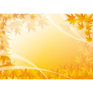 フリーイラスト, ベクター画像, AI, 背景, フレーム, 囲みフレーム, 秋, 植物, 葉っぱ, もみじ(カエデ), 紅葉(黄葉), オレンジ色