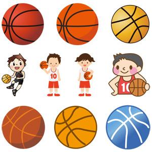 フリーイラスト, ベクター画像, EPS, スポーツ, 球技, バスケットボール, ボール, バスケット選手