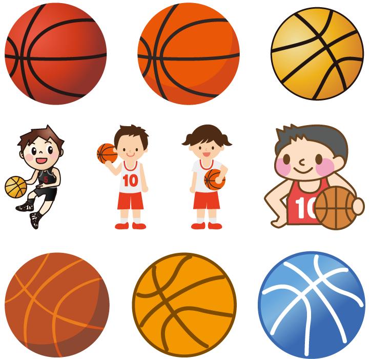 フリーイラスト 10種類のバスケットボールとバスケットボール選手