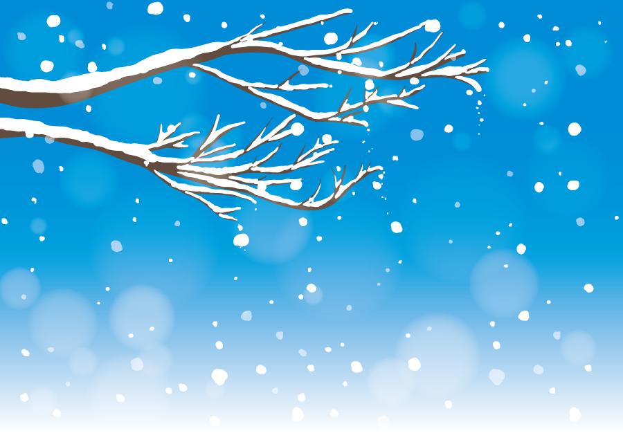 フリーイラスト 木の枝と降り積もる雪の風景