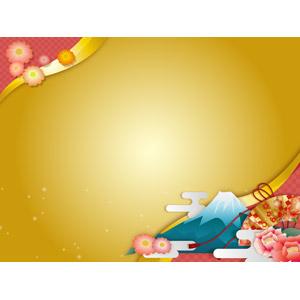 フリーイラスト, ベクター画像, AI, 背景, フレーム, 対角フレーム, 年中行事, 正月, 元旦(元日), 1月, 富士山, 扇子