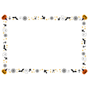 フリーイラスト, ベクター画像, EPS, 背景, フレーム, 囲みフレーム, 年中行事, ハロウィン(ハロウィーン), 10月, 幽霊(お化け), ジャック・オー・ランタン, コウモリ, 蜘蛛の巣(クモの巣)