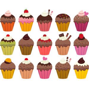 フリーイラスト, ベクター画像, AI, 食べ物(食料), 菓子, 洋菓子, スイーツ, ケーキ, カップケーキ