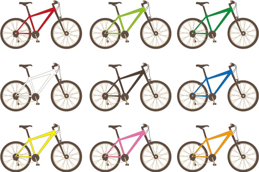 フリーイラスト 9種類のマウンテンバイクのセット