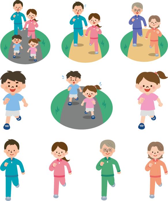 フリーイラスト 10種類のジョギングする家族のセット