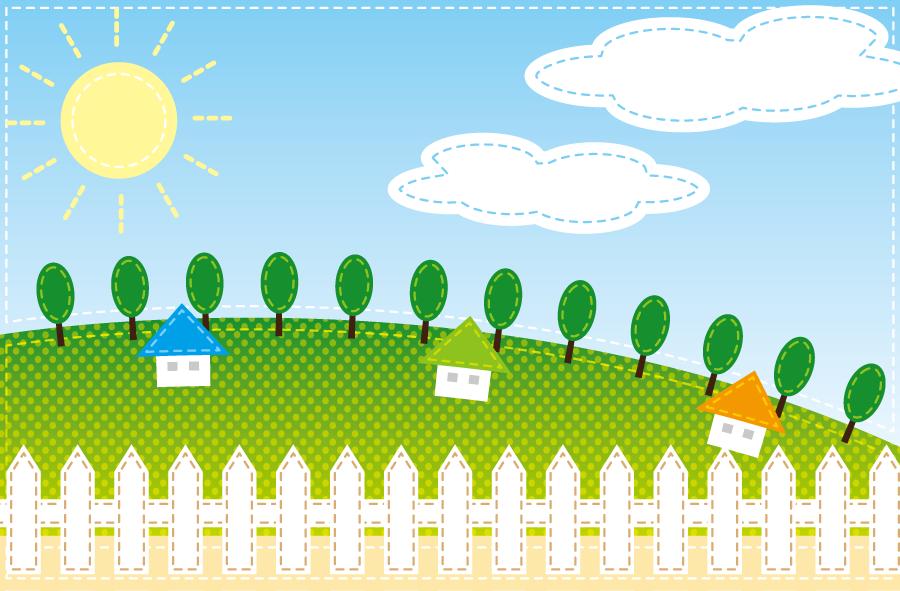 フリーイラスト 柵と丘の上にある家と晴れの日の風景