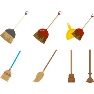 フリーイラスト, ベクター画像, EPS, 掃除(清掃), 掃除用具, 箒(ホウキ), 空飛ぶ箒, ハロウィン(ハロウィーン)
