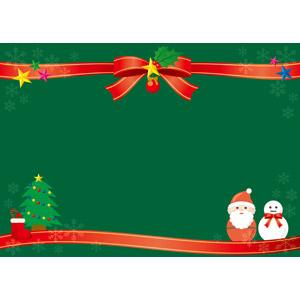 フリーイラスト, ベクター画像, AI, 年中行事, クリスマス, 12月, 冬, 背景, フレーム, 上下フレーム, リボン, 蝶リボン, クリスマスツリー, サンタブーツ, サンタクロース, 雪だるま