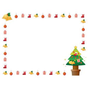 フリーイラスト, ベクター画像, AI, 年中行事, クリスマス, 12月, 冬, 背景, フレーム, 囲みフレーム, クリスマスツリー, クリスマスベル, クリスマスボール, サンタブーツ, クリスマスプレゼント