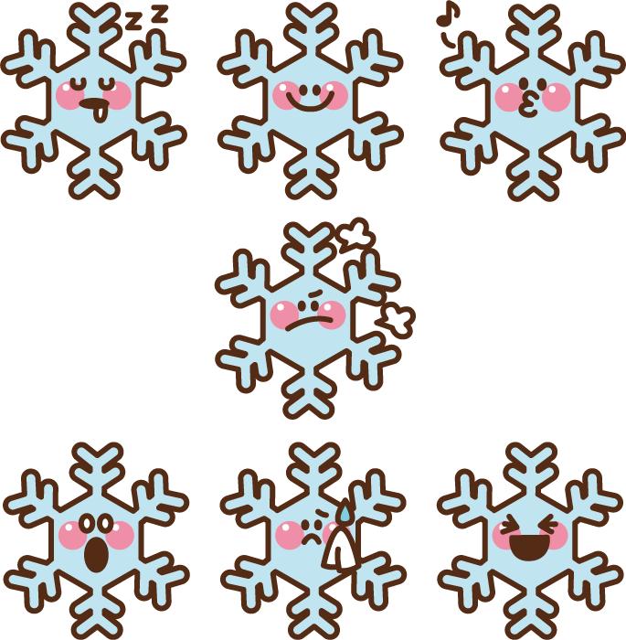 フリーイラスト 7種類のカートゥーン化された雪の結晶のセット