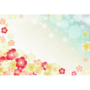 フリーイラスト, ベクター画像, AI, 背景, 花, 梅(ウメ), 正月, 1月, 和柄, 玉ボケ, 雪の結晶