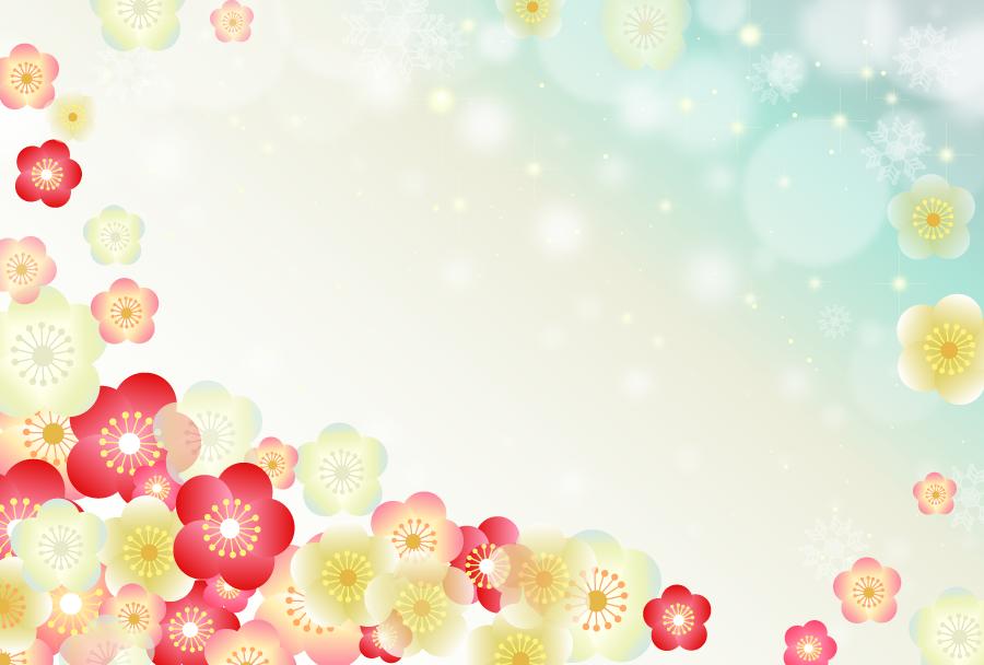 フリーイラスト 紅白の梅の花の背景