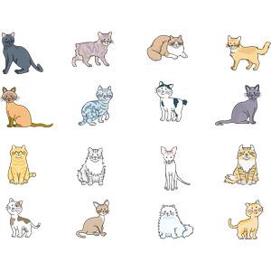 フリーイラスト, ベクター画像, EPS, 動物, 哺乳類, 猫(ネコ), 黒猫, シャム猫, ペルシャ猫, 茶トラ猫, 白黒猫