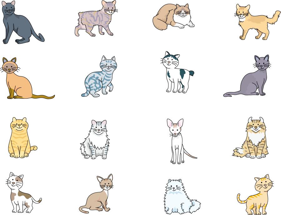 フリーイラスト 16種類の猫のセット
