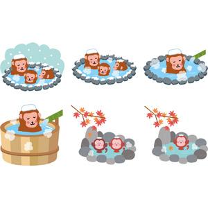 フリーイラスト, ベクター画像, EPS, 動物, 哺乳類, 猿(サル), ニホンザル, 温泉, 露天風呂, 入浴(動物), 雪, 冬, 紅葉(黄葉), 秋