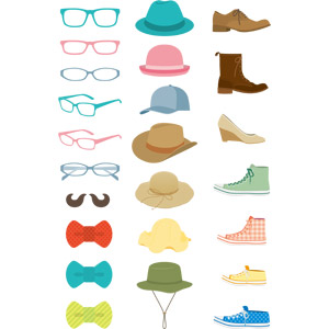 フリーイラスト, ベクター画像, AI, メンズファッション, レディースファッション, 眼鏡(メガネ), 蝶ネクタイ, 帽子, キャップ帽, カウボーイハット, 麦わら帽子, 靴(シューズ), 革靴, ブーツ, パンプス, スニーカー, 中折れ帽(ソフトハット)