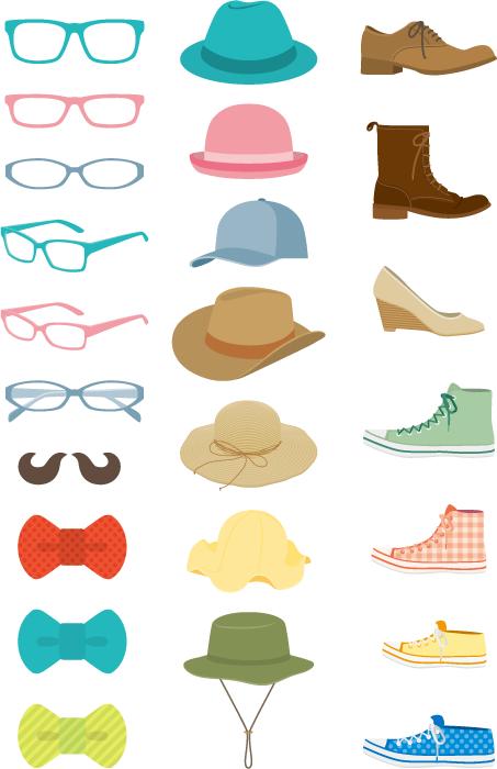 フリーイラスト 24種類の眼鏡と帽子と靴と蝶ネクタイのセット