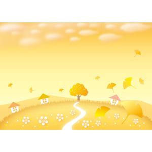 フリーイラスト, ベクター画像, AI, 風景, 夕暮れ(夕方), 夕焼け, イチョウ, 紅葉(黄葉), 秋, 落葉(落ち葉), 樹木, 小道, 家(一軒家), 田舎, オレンジ色