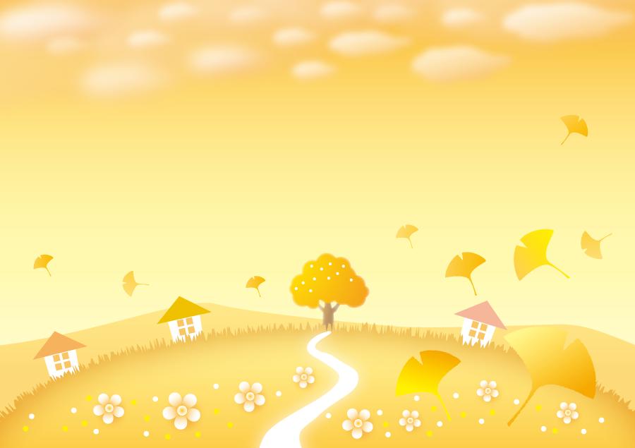 フリーイラスト 秋の夕焼けに染まる田舎の風景