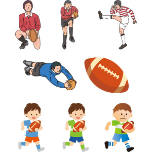フリーイラスト, ベクター画像, EPS, スポーツ, 球技, ラグビー, ラグビーボール, ボール, ラグビー選手