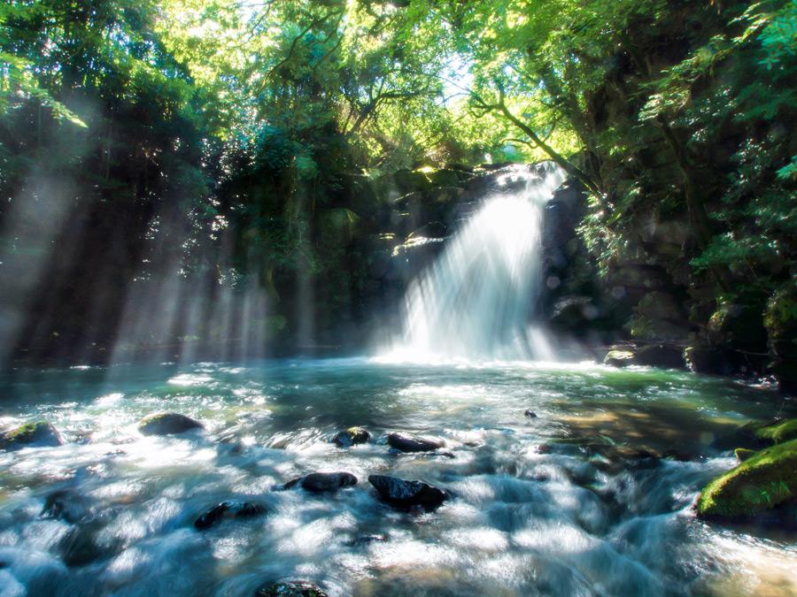 フリー写真 森の中の滝と木漏れ日の風景