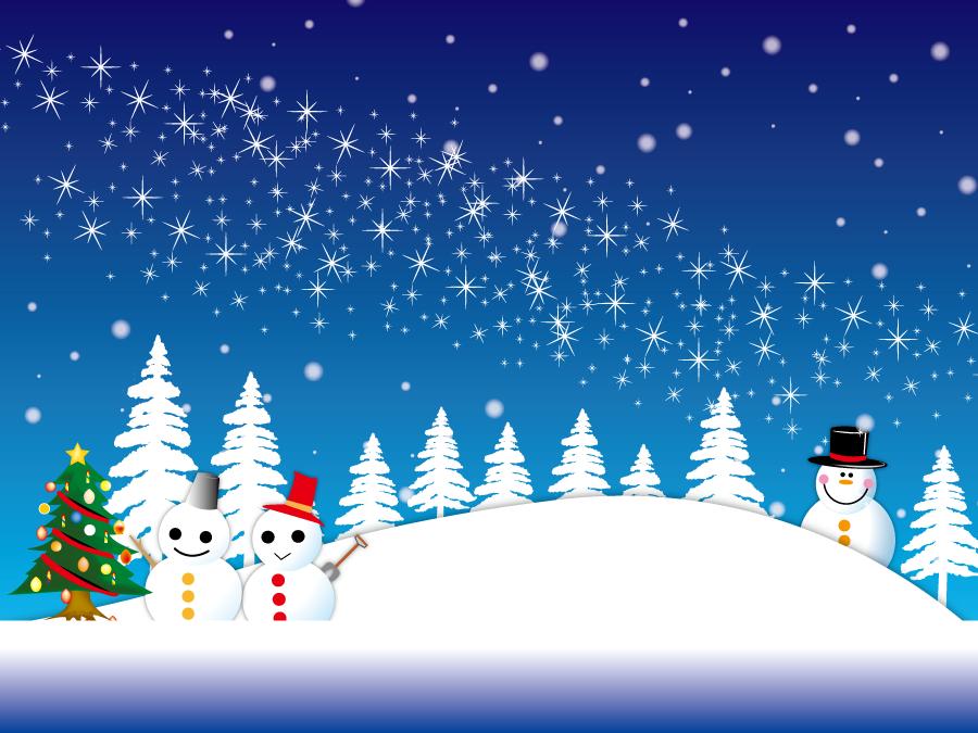 フリーイラスト 雪だるまとクリスマスツリーと雪の降る夜