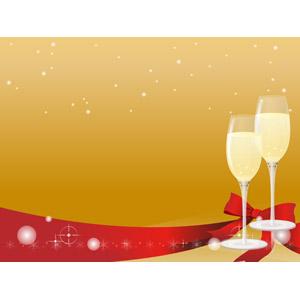 フリーイラスト, ベクター画像, AI, 年中行事, クリスマス, 12月, 冬, 背景, リボン, 雪, 飲み物(飲料), お酒, シャンパン, シャンパングラス