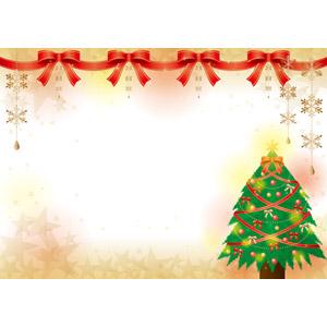 フリーイラスト, ベクター画像, AI, 年中行事, クリスマス, 12月, 冬, 背景, クリスマスツリー, 蝶リボン, リボン, 星印