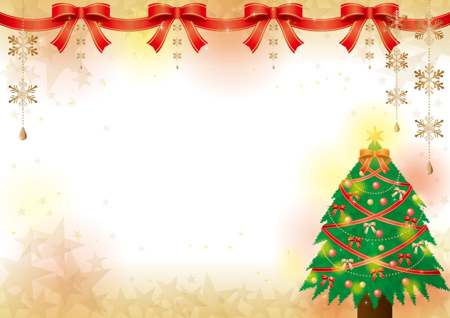 フリーイラスト クリスマスツリーと蝶リボンのクリスマス背景