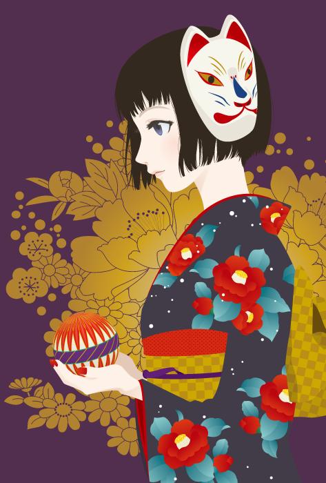フリーイラスト 着物姿で鞠を持つ少女