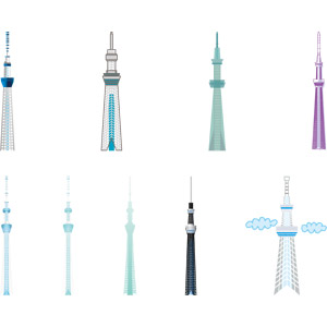フリーイラスト, ベクター画像, EPS, 建造物, 建築物, 塔(タワー), 東京スカイツリー, 東京都