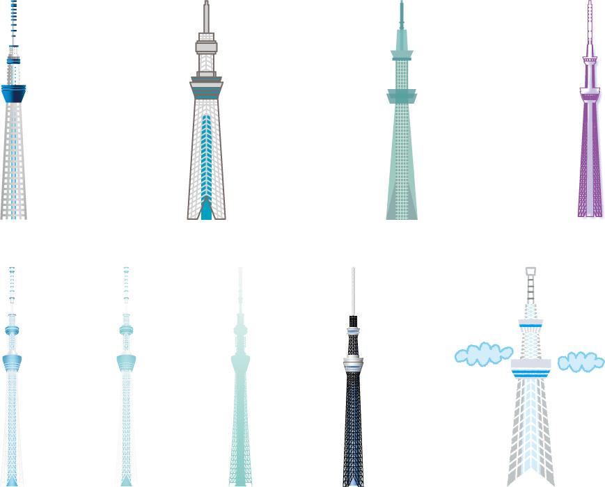 フリーイラスト 9種類の東京スカイツリーのセット