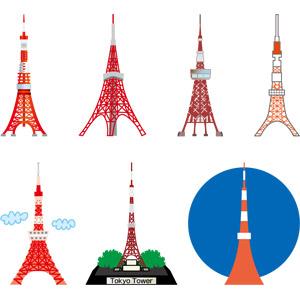 フリーイラスト, ベクター画像, EPS, 建造物, 建築物, 塔(タワー), 東京タワー, 東京