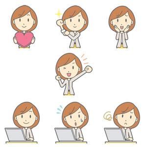フリーイラスト, ベクター画像, AI, 人物, 女性, 職業, ビジネス, OL(オフィスレディ), 女性(00052), ハート, 頑張る, 照れる, 頬に手を当てる, 応援する, ガッツポーズ, ノートパソコン, デスクワーク, 焦る, 困る