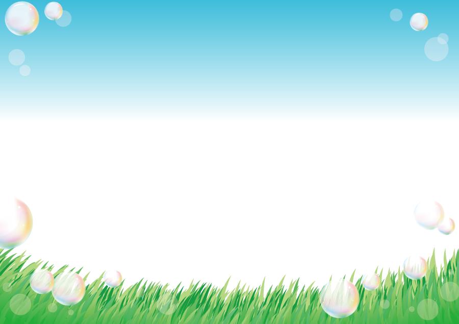 フリーイラスト 青空と草原としゃぼん玉の風景
