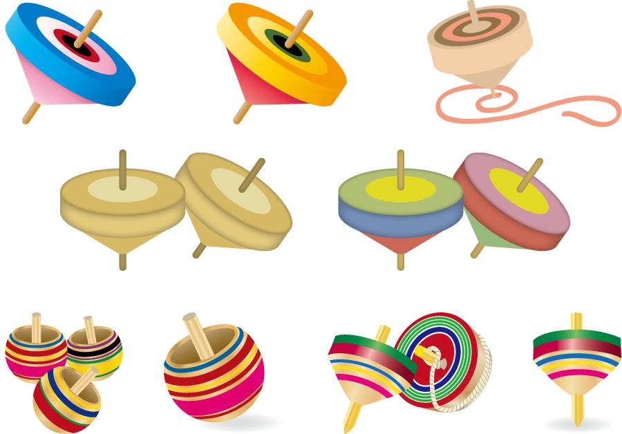 フリーイラスト 9種類の独楽のセット