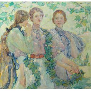 フリー絵画, ロバート・リード, 人物画, 女性, 三人, 葉っぱ
