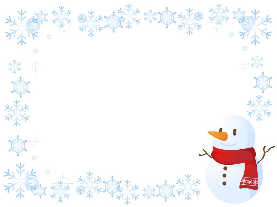 フリーイラスト 雪だるまと雪の結晶のフレーム