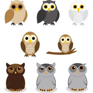 フリーイラスト, ベクター画像, EPS, 動物, 鳥類, 猛禽類, 梟(フクロウ)