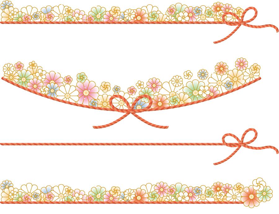 フリーイラスト 飾り紐と菊と梅の花の飾り罫線のセット