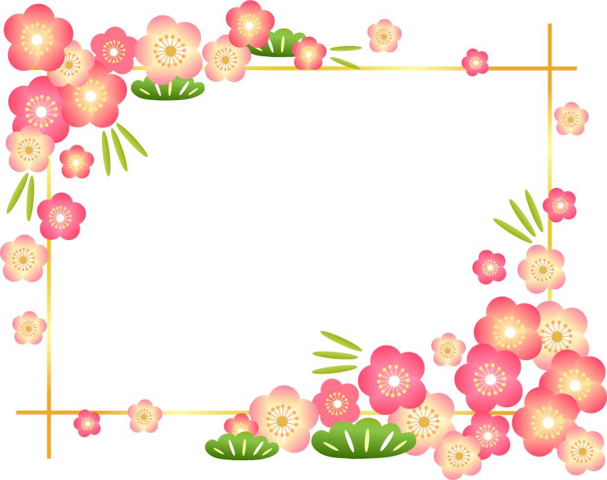 フリーイラスト 松竹梅の飾り枠