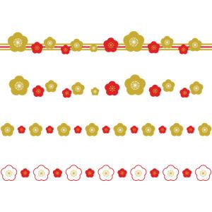 フリーイラスト, ベクター画像, AI, 飾り罫線(ライン), 年中行事, 正月, 元旦(元日), 1月, 年賀状, 梅(ウメ), 花柄